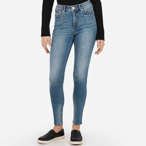Express High Waisted Light Wash Skinny Jeans (6)
